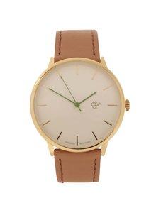 Unisex hodinky v zlatej farbe s hnedým remienkom z vegánskej kože CHPO Nawroz