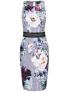 Krémovo-šedé šaty s motivem květin Little Mistress