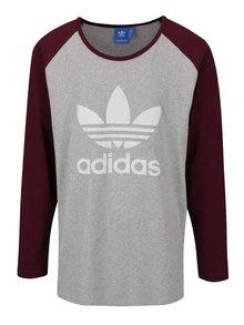 Bluză gri cu vișiniu Adidas Originals cu print