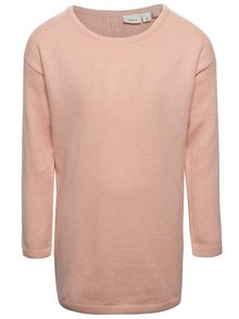 Svetloružový dlhší dievčenský sveter name it Jalotte