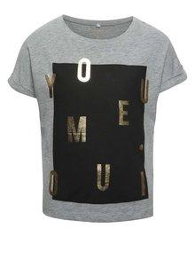 Tricou gri cu imprimeu name it Boxy pentru fete
