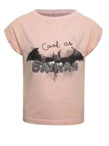 Tricou roz pal cu imprimeu name it Batman pentru fete