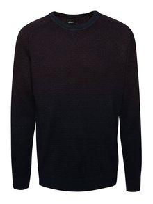 Vínovo-modrý sveter s ombré efektom Burton Menswear London