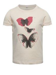 Světle růžové holčičí tričko s potiskem motýlů name it Veen Jolly