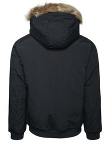 Tmavomodrá bunda s umelým kožúškom Burton Menswear London