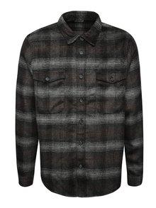 Šedo-hnědá kostkovaná teplejší košile s kapsami Burton Menswear London