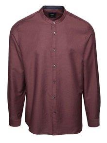 Vínová puntíkatá košile bez límečku Burton Menswear London