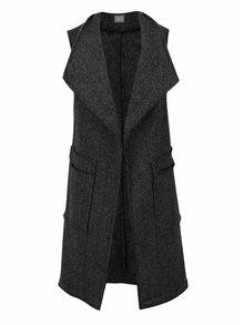 Tmavě šedá vzorovaná dlouhá vesta ZOOT