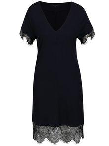 Čierno-modré šaty s čipkovanými lemami French Connection Swift