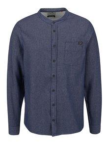 Modrá neformální košile bez límečku Blend
