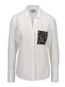 Krémová košeľa s vzorovaným vreckom VERO MODA Dina