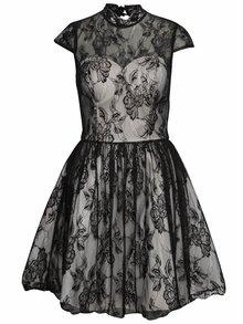 Krémovo-čierne čipkované šaty Chi Chi London Darcy