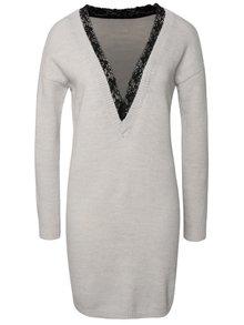 Čierno-sivé svetrové šaty s véčkovým výstrihom VILA Effort