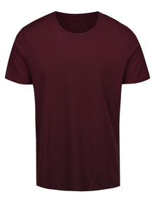 Tricou roșu Bordeaux cu decolteu rotund Burton Menswear London