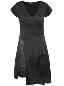 Tmavě šedé lehké svetrové šaty Desigual