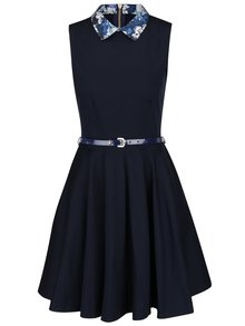 Tmavě modré šaty s květovaným límečkem Closet
