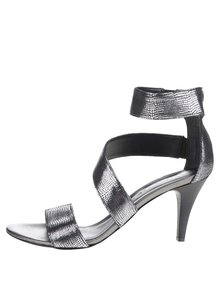 Kožené vzorované sandálky na podpatku ve stříbrné barvě Tamaris