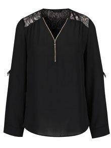 Černá halenka s krajkovými detaily Dorothy Perkins