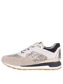Pantofi sport crem & bej cu paiete Geox Shahira
