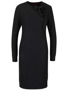 Tmavě šedé svetrové šaty s mašlí s.Oliver
