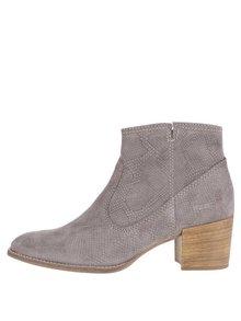 Sivé semišové vzorované členkové topánky na podpätku Tamaris