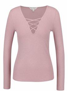 Bluză roz prăfuit Miss Selfridge cu decolteu în V cu șiret