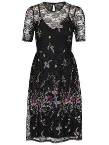 Černé krajkové šaty s vyšívanými květy Miss Selfridge