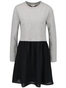 Černo-šedé šaty s mikinovou horní částí Miss Selfridge