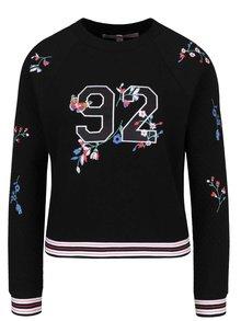 Bluză neagră Miss Selfridge Petites cu print și model floral brodat