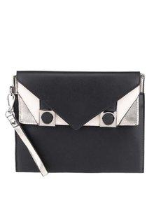 Čierno-krémová listová kabelka so striebornými detailmi Miss Selfridge