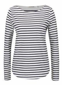 Modro-krémové pruhované tričko s dlhým rukávom Rich & Royal