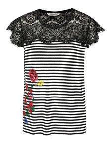 Krémovo-čierne tričko s čipkovaným dekoltom Desigual Lena
