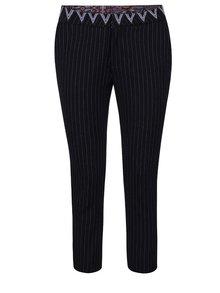 Černé zkrácené kalhoty s pruhy Desigual Black