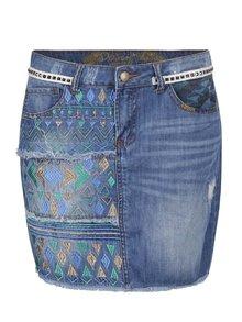 Modrá džínová sukně s výšivkou Desigual Segovia