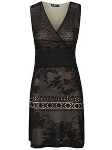 Krémovo-černé krajkové šaty bez rukávů Desigual Elga
