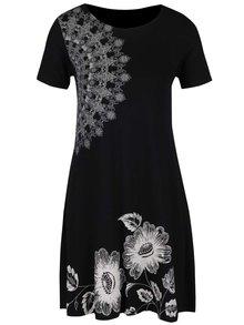 Černé šaty s potiskem květů a mandal Desigual Maribel