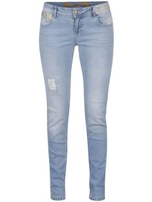 Světle modré džíny s výšivkou Desigual Irea