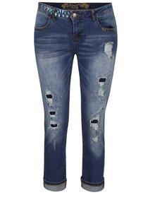 Modré zkrácené džíny s výšivkou Desigual Slim