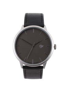 Unisex hodinky ve stříbrné barvě s černým páskem z veganské kůže CHPO Khorshid Metal