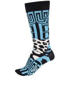 Černo-modré vzorované pánské ponožky Happy Socks Iris Apfel Block Geo
