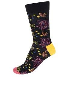 Černé vzorované pánské ponožky Happy Socks Firework