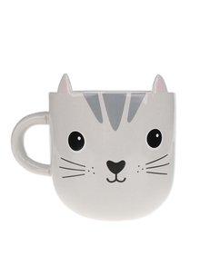 Sivý keramický hrnček s mačkou Sass & Belle Nori Cat Kawaii