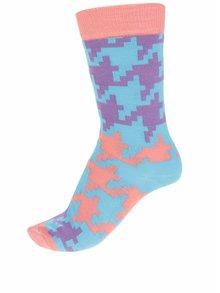 Oranžovo-tyrkysové dámske ponožky Happy Socks Dogtooth