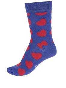 Modré dámské ponožky se srdíčky Happy Socks Diagonal Heart
