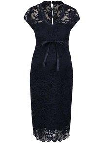Tmavomodré čipkované tehotenské šaty Mama.licious New Mivana