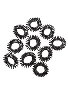 Sada deseti spirálových gumiček v černé barvě Pieces Spiral