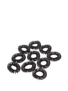 Set elastice negre de păr Pieces Spiral