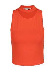Oranžový crop top so stojačikom Miss Selfridge