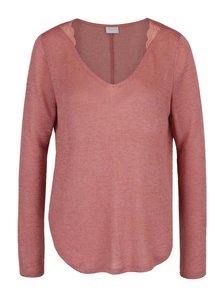 Starorůžový volný průsvitný svetr s krajkovými detaily VILA Majsa