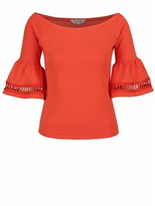 Bluză portocalie Miss Selfridge cu decolteu bărcuță și mâneci evazate